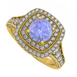 LoveBrightJewelry Created Tanzanite And Cz Double Halo In Yellow Gold Vermeil