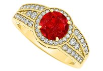 LoveBrightJewelry Ruby And Cz Tripartite Row Engagement Ring 1.75 Ct Tgw