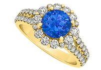 LoveBrightJewelry Sapphire And Cubic Zirconia Flower Design Ring In 18k Yellow Gold
