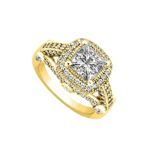 LoveBrightJewelry 1.50 Carat Cubic Zirconia Halo Engagement Rings In 18k Yellow Gold