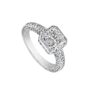 LoveBrightJewelry 2 Carat Cz Halo Engagement Rings In Sterling Silver