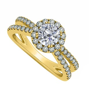 LoveBrightJewelry Cubic Zirconia Engagement Ring With 18k Yellow Gold Vermeil Split