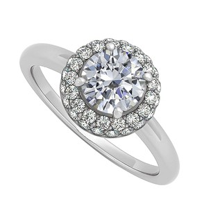 LoveBrightJewelry Cubic Zirconia Halo Engagement Ring 14k White Goldtwo Third Of A Carat