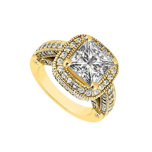 LoveBrightJewelry Cubic Zirconia Halo Engagement Rings In 18k Yellow Gold