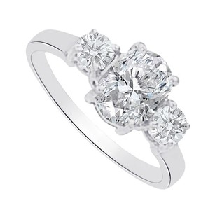 LoveBrightJewelry Cubic Zirconia Three Stones Ring In 14k White Gold