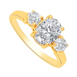 LoveBrightJewelry Cubic Zirconia Three Stones Ring In 14k Yellow Gold