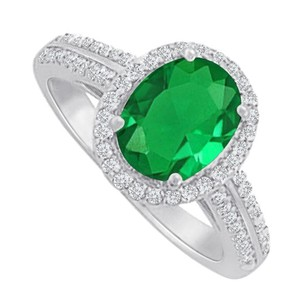 LoveBrightJewelry Emerald Cubic Zirconia Halo Ring In 925 Sterling Silver