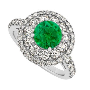 LoveBrightJewelry Emerald Cz Double Halo Engagement Ring Sterling Silver