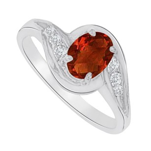 LoveBrightJewelry Garnet And Cz Seven Stones Ring In 14k White Gold