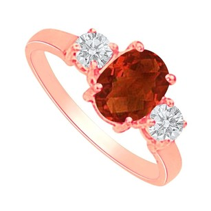 LoveBrightJewelry Garnet And Cz Three Stones Ring In 14k Rose Gold