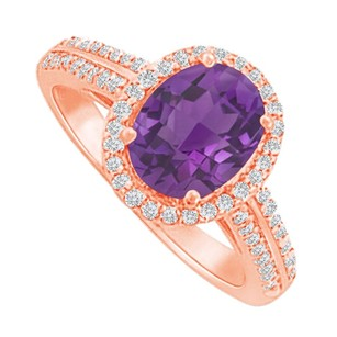 LoveBrightJewelry Halo Ring With Amethyst And Cz In 14k Rose Gold Vermeil