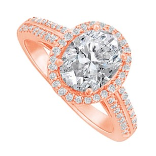 LoveBrightJewelry Halo Ring With Cubic Zirconia In 14k Rose Gold Vermeil