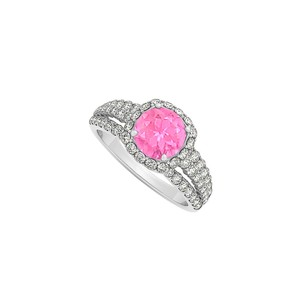 LoveBrightJewelry Pink Sapphire And Cubic Zirconia Split Shank Halo Engagement Ring