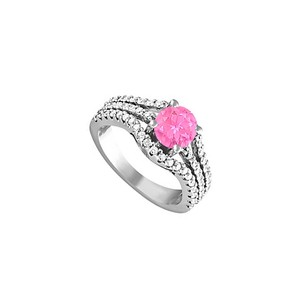 LoveBrightJewelry Pink Sapphire And Cz Ring In Sterling Silver 1.75 Tgw