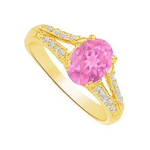 LoveBrightJewelry Pink Sapphire Cz Split Shank Ring In 14k Yellow Gold