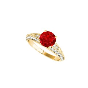 LoveBrightJewelry Prong Set Ruby And Cz Engagement Ring 1.50 Ct Tgw