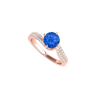 LoveBrightJewelry Prong Set Sapphire And Cz Ring In 14k Rose Gold