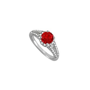 LoveBrightJewelry Ruby And Cubic Zirconia Split Shank Ring 1.50 Tgw