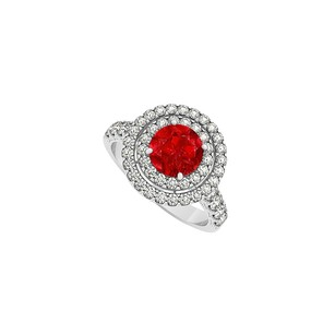 LoveBrightJewelry Ruby And Double Circle Cubic Zirconia 925 Sterling Silver