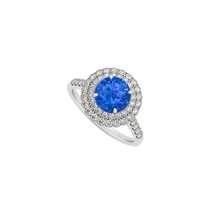 LoveBrightJewelry Sapphire And Cz Halo Engagement Ring In Sterling Silver