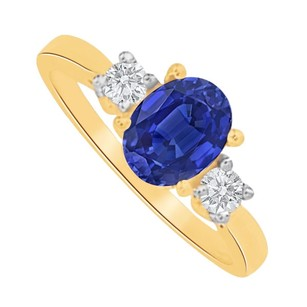 LoveBrightJewelry Sapphire And Cz Three Stone Engagement Ring 1.5 Ct Tgw
