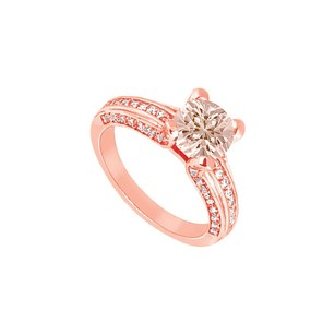 LoveBrightJewelry Prong Set Brilliant Cut Morganite And Czs On 14k Rose Gold Vermeil