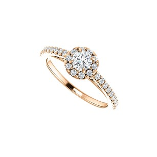 LoveBrightJewelry Cubic Zirconia Accented Halo Ring In 14k Rose Gold