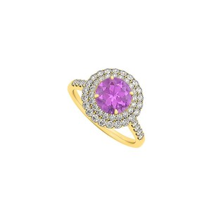 LoveBrightJewelry Amethyst And Cubic Zirconia Ring In Yellow Gold Vermeil
