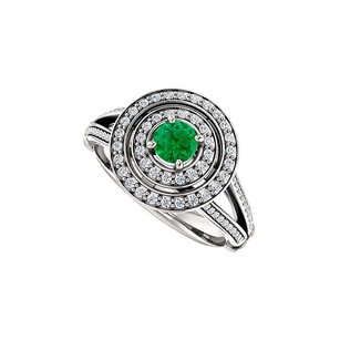 LoveBrightJewelry Double Halo Split Shank Emerald And Cz Ring 925 Silver