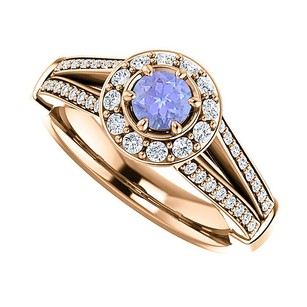 LoveBrightJewelry 1carat Tanzanite Cz Split Shank Halo Engagement Ring