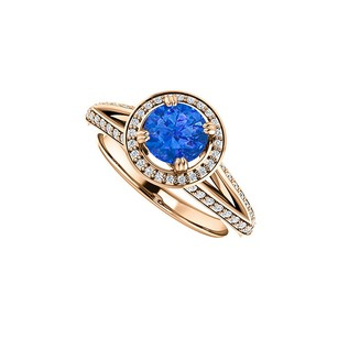 LoveBrightJewelry Cz And Sapphire Halo Split Shank Ring Rose Gold Vermeil