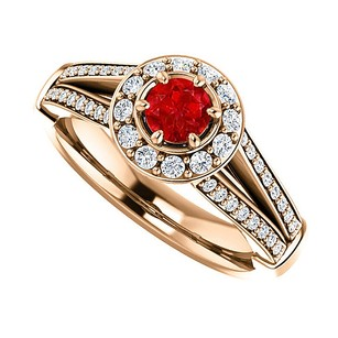LoveBrightJewelry Round Ruby And Cz Split Shank Halo Ring 14k Vermeil