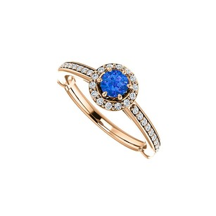 LoveBrightJewelry Sapphire Cubic Zirconia Halo Ring 14k Rose Gold Vermeil