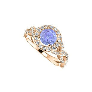 LoveBrightJewelry Tanzanite Cubic Zirconia Cross Over Ring Rose Vermeil