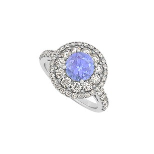 LoveBrightJewelry Tanzanite Cz Halo Engagement Ring In Sterling Silver