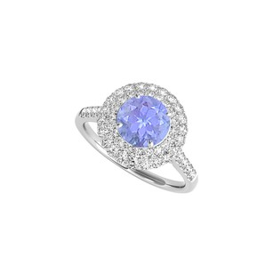 LoveBrightJewelry Created Tanzanite Cz Halo Engagement Ring In Sterling Silver