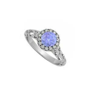 LoveBrightJewelry Tanzanite And Cubic Zirconia Halo Filigree Engagement Ring In 925 Ster