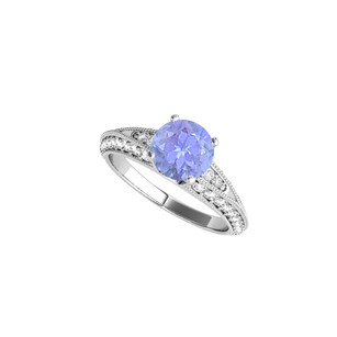 LoveBrightJewelry Tanzanite And Cz Engagement Ring In Sterling Silver