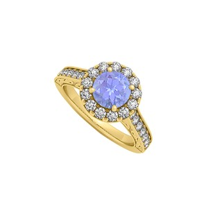 LoveBrightJewelry Tanzanite And Cz Halo Engagement Ring In 18k Yellow Gold Vermeil 1.50