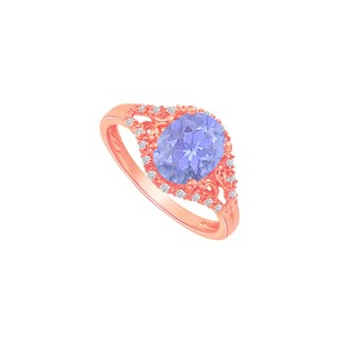 LoveBrightJewelry Tanzanite And Cz Split Shank Ring In Rose Gold Vermeil