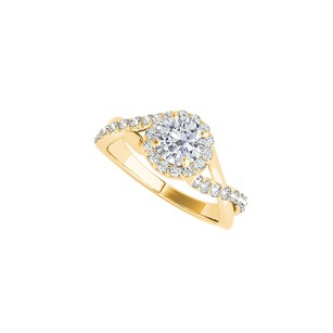 LoveBrightJewelry Yellow Gold Vermeil Criss Cross Design Ring With Cz