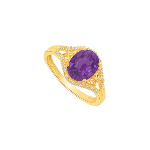 LoveBrightJewelry Yellow Gold Vermeil Split Shank Ring With Cz Amathyst