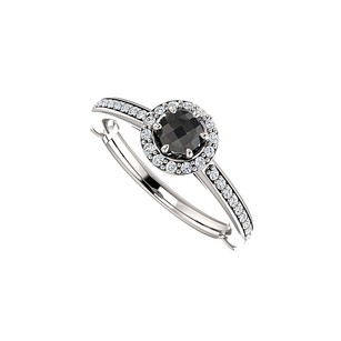 LoveBrightJewelry Black Onyx And Cz Halo Engagement Ring 14k White Gold