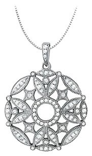 LoveBrightJewelry 2.50 Carat Total Cubic Zirconia in Sterling Silver Floral Circle Fashion Pendant