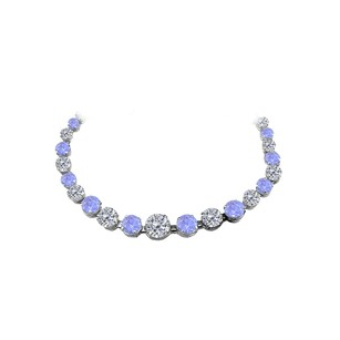 LoveBrightJewelry 30 Carat Tanzanite CZ Graduated Necklace 14K White Gold