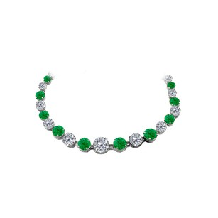 LoveBrightJewelry 30 ct Emerald CZ Graduated Necklace in 14K White Gold
