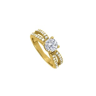 LoveBrightJewelry 4 Prong Set Cubic Zirconia Split Shank Engagement Ring 18k Yellow Gold Vermeil