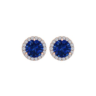 LoveBrightJewelry 6.00 mm Sapphire CZ Round Halo Earrings 14K Rose Gold
