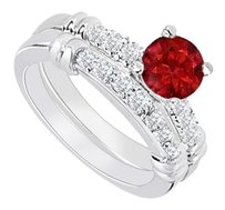 LoveBrightJewelry 925 Sterling Silver Created Ruby and Cubic Zirconia Engagement Ring with Wedding Band Set