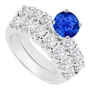 LoveBrightJewelry 925 Sterling Silver Created Sapphire and Cubic Zirconia Engagement Ring with Wedding Band Set 1.15 Carat